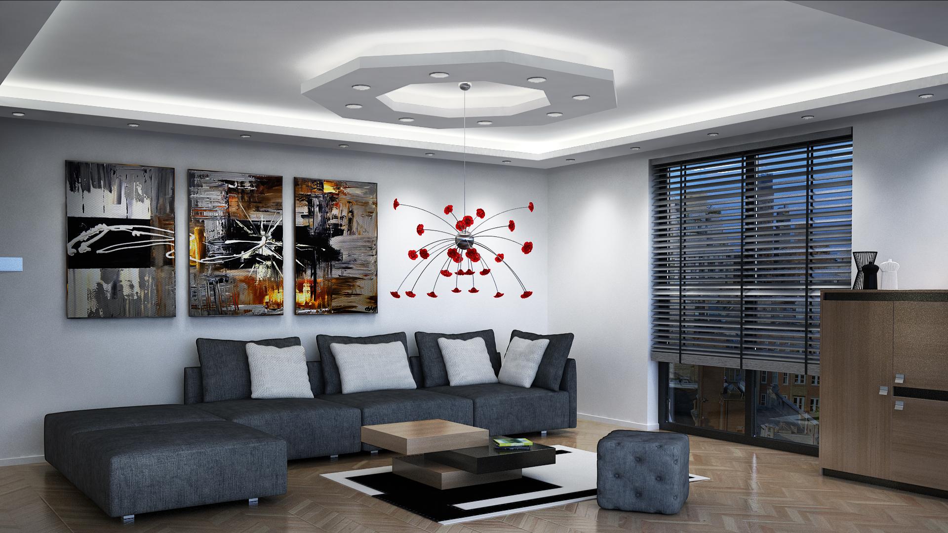 Sufity podwieszane w salonie wzory materia y budowlane for Sufit podwieszany w salonie